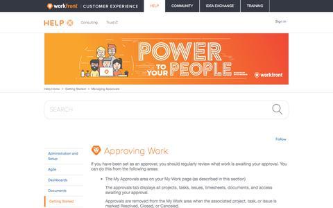 Screenshot of Support Page workfront.com - Approving Work – Workfront - captured Dec. 29, 2017