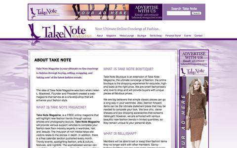 Screenshot of About Page takenotemagazine.com - About Take Note | Take Note Magazine - captured Nov. 4, 2014