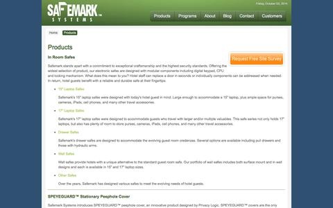 Screenshot of Products Page safemark.com - Safemark Systems - Products - captured Oct. 3, 2014