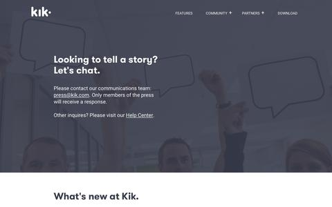 Screenshot of Press Page kik.com - Kik News - captured Aug. 19, 2017