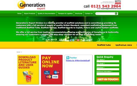 Screenshot of Home Page generationexport.com - Generation Hire & Sale - Export home page - captured Sept. 19, 2015