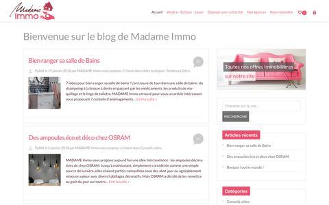 Screenshot of Blog madameimmo.com - Madame Immo - La touche féminine qui fait la différence - captured July 27, 2018