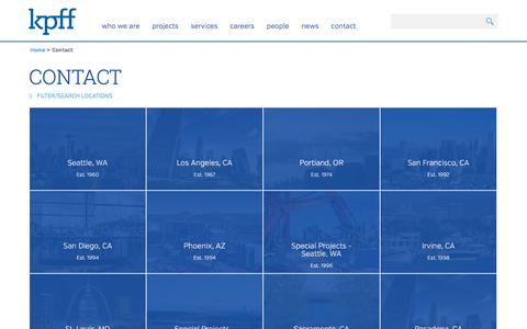 Screenshot of Contact Page Locations Page kpff.com - Locations - captured Nov. 27, 2016