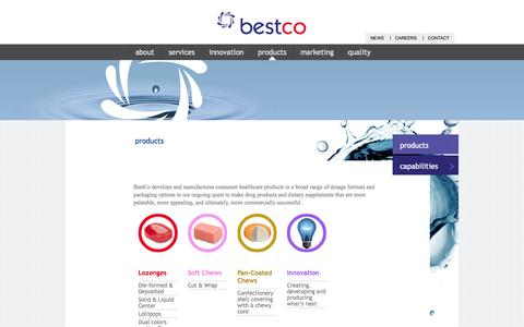 Screenshot of Products Page bestco.com - Confectionary Products and Packaging | Bestco | BestCo - captured Sept. 30, 2014