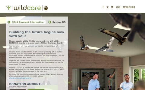 Screenshot of Support Page convio.net - WildCare   -  Donate to WildCare - captured April 9, 2018