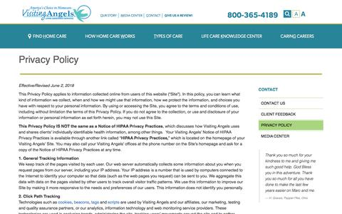 Screenshot of Privacy Page visitingangels.com - Privacy Policy - captured Nov. 3, 2019