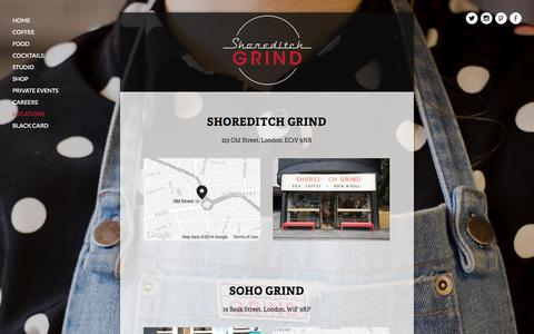 Screenshot of Locations Page shoreditchgrind.com - Locations — Shoreditch Grind - captured Oct. 3, 2014
