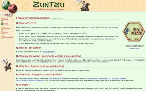 Screenshot of FAQ Page zuntzu.com - ZunTzu - FAQ - captured Oct. 26, 2014
