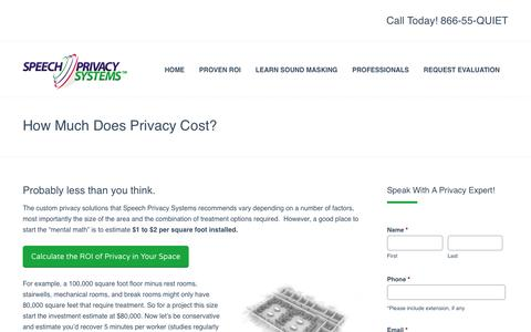 Screenshot of Pricing Page speechprivacysystems.com - How Much Does Privacy Cost? Sound Masking and White Noise by Speech Privacy Systems - captured Oct. 7, 2014