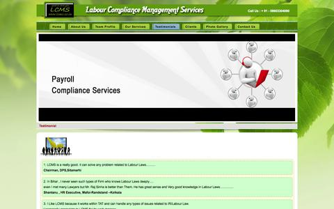 Screenshot of Testimonials Page lcms.co.in - Testimonial - Labour Compliance Management Services - captured Oct. 1, 2014