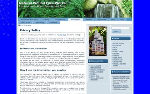 Screenshot of Privacy Page woundcarespray.com - Privacy Policy | Natural Wound Care Works - captured March 7, 2016