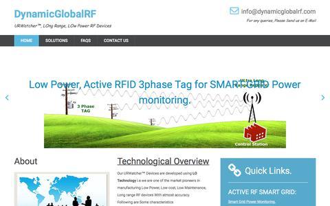 Screenshot of Home Page dynamicglobalrf.com - dynamicglobalrf.com, Long Range Active RF, Smart grid transformer management, Low Power RFID - captured Aug. 5, 2018