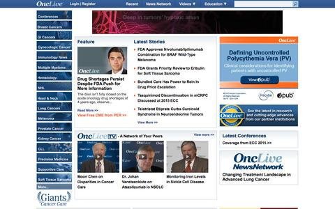 Screenshot of Home Page onclive.com - OncLive - Bringing the Oncology Community Together - captured Oct. 1, 2015