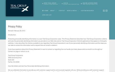 Screenshot of Privacy Page Terms Page tealgroup.com - PP/TOS - Teal Group - captured Oct. 19, 2018