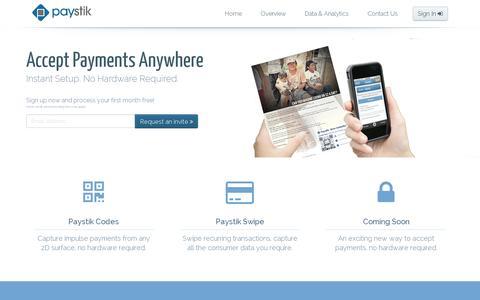 Screenshot of Home Page paystik.com - Paystik - captured July 11, 2014