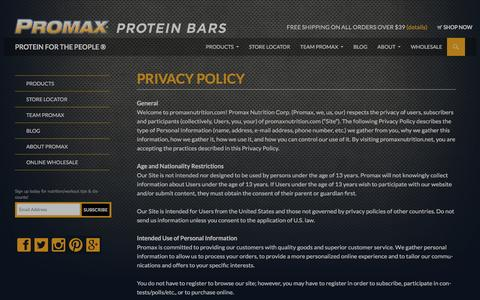 Screenshot of Privacy Page promaxnutrition.com - Privacy Policy    Promax Nutrition - captured Dec. 13, 2015