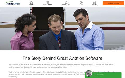 Screenshot of About Page Contact Page flightoffice.com - Our Story | Experts In Aviation Software - captured May 9, 2017