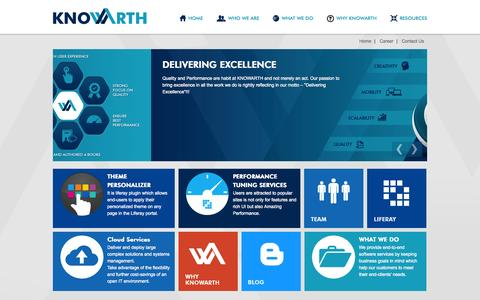 Screenshot of Home Page knowarth.com - Portal Consulting & Implementation | Enterprise Content Management | Big Data | Cloud Computing | Service Oriented Architecture | Business Intelligence | E-Commerce | ERP | KNOWARTH - KNOWARTH - captured Oct. 6, 2014