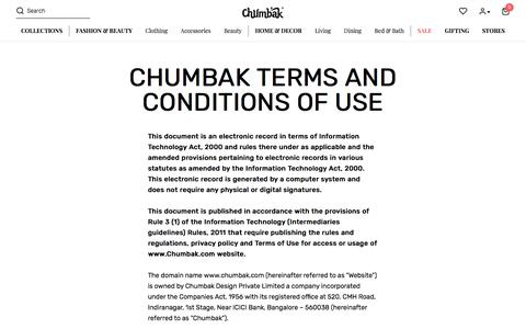 Screenshot of Terms Page chumbak.com - Terms and Conditions of Use - Chumbak - captured Aug. 14, 2019