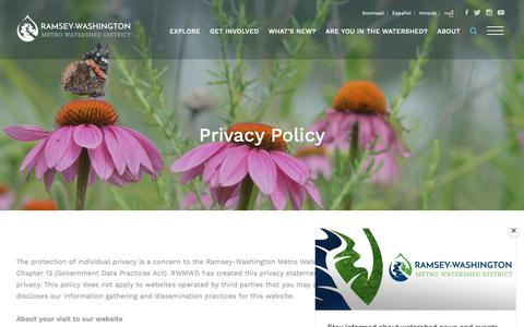 Screenshot of Privacy Page rwmwd.org - Privacy Policy - Ramsey-Washington Metro Watershed District - captured Oct. 18, 2018