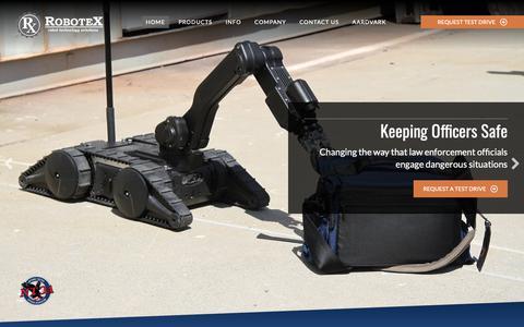 Screenshot of Home Page robotex.com - Tactical Robots | RoboteX | Robot Technology Solutions - captured June 9, 2019