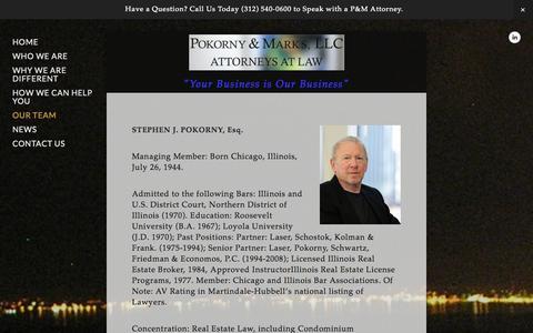 Screenshot of Team Page pokornymarks.com - Our Team — POKORNY & MARKS, LLC - captured Oct. 1, 2014