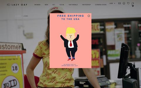 Screenshot of Jobs Page lazyoaf.com - Jobs                           – Lazy Oaf - captured July 20, 2018