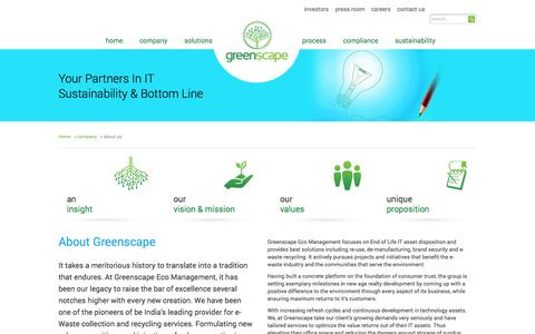 Screenshot of About Page greenscape-eco.com - about us | Greenscape Eco Management - captured Oct. 3, 2014
