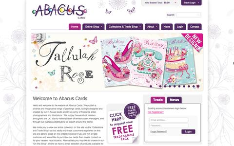 Screenshot of Home Page abacuscards.co.uk - Welcome to Abacus Cards - Abacus Cards - Greetings Cards, Gift Wrap & Stationery - captured Oct. 4, 2014