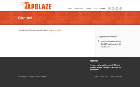 Screenshot of Contact Page tapblaze.com - Contact | TapBlaze - captured Oct. 19, 2016