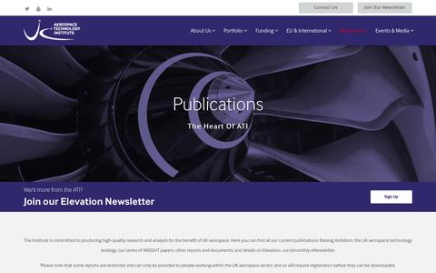 Screenshot of Signup Page ati.org.uk - Publications - Aerospace Technology Institute - captured Oct. 1, 2018