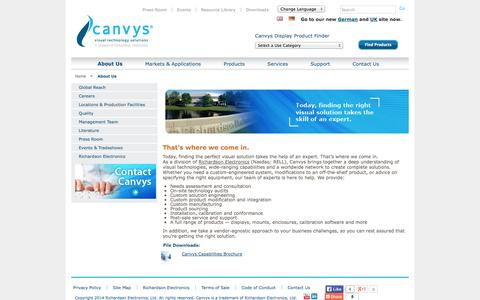 Screenshot of About Page canvys.com - Information About Canvys - Leader in custom visual technology - captured Oct. 1, 2014