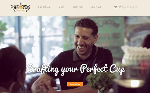 Screenshot of Home Page philzcoffee.com - Philz Coffee - captured Feb. 8, 2016