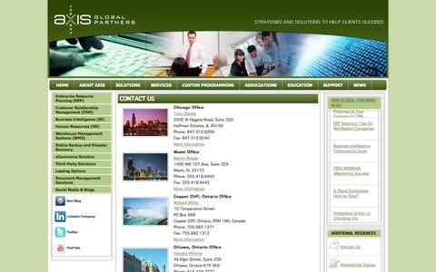 Screenshot of Contact Page axisgp.com - Contact Us | Axis Global Partners - captured Oct. 4, 2014