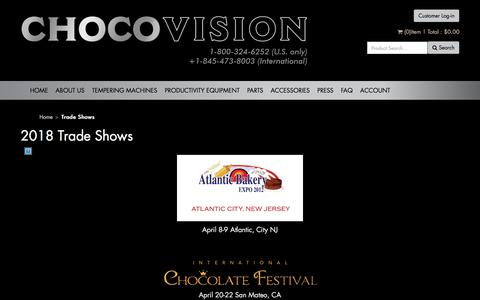 Screenshot of Press Page chocovision.com - Trade Shows - captured July 17, 2018