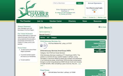 Screenshot of Jobs Page riverregionchamber.org - Job Search - River Region Chamber of Commerce - LaPlace, LA - captured Oct. 26, 2014