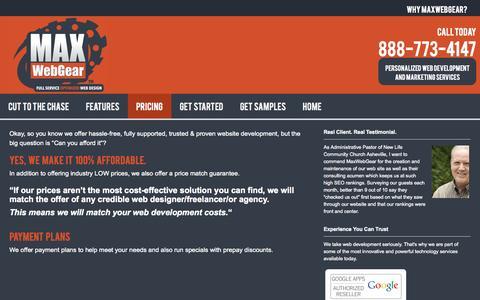 Screenshot of Pricing Page maxwebgear.com - Web Design Costs - captured Oct. 27, 2014