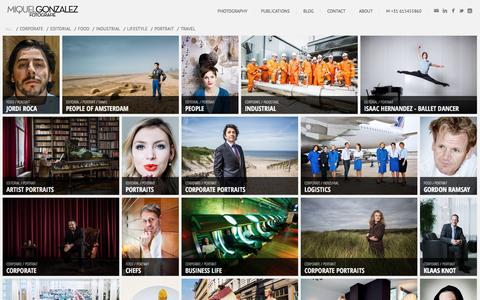 Screenshot of Home Page gonzalezphoto.com - Portrait Photographer Amsterdam Netherlands, Advertising, Corporate, Food Fotograaf - Miquel Gonzalez Fotografie - captured Jan. 31, 2016