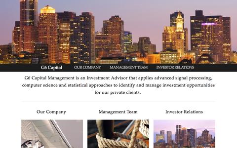 Screenshot of Home Page About Page g6cm.com - G6 Capital - captured Oct. 1, 2014