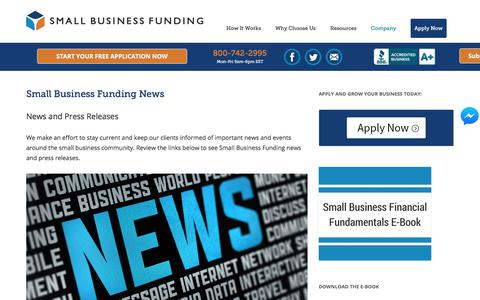 Screenshot of Press Page smallbusinessfunding.com - Small Business Funding News   Fast Business Cash Advances - captured Feb. 4, 2018
