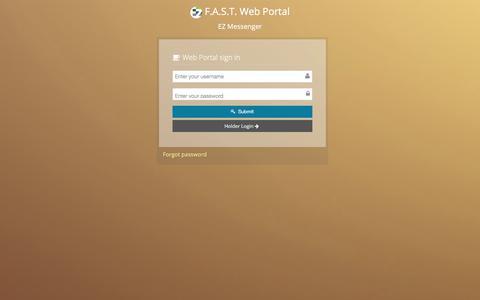 Screenshot of Login Page ezmessenger.com - F.A.S.T. Web Portal - captured July 15, 2018