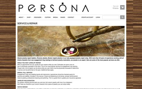 Screenshot of Services Page personastyle.com - PERSONA JEWELRY - SERVICE & REPAIR - captured Sept. 27, 2018