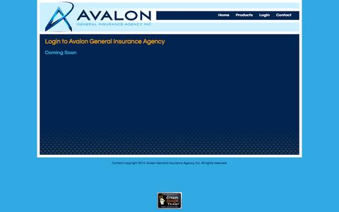 Screenshot of Login Page avaloninsgroup.com - Login to Avalon General Insurance Agency - captured Oct. 4, 2014