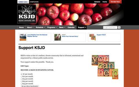 Screenshot of Support Page ksjd.org - Support KSJD | KSJD - captured Oct. 6, 2014