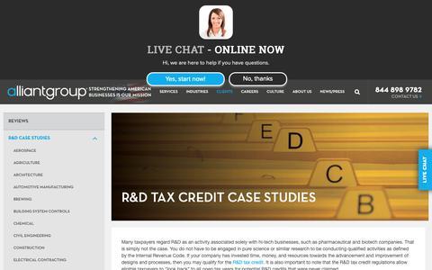 Screenshot of Case Studies Page alliantgroup.com - R&D Tax Credit Case Studies - captured Nov. 13, 2018