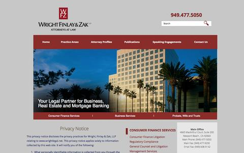 Screenshot of Privacy Page wrightlegal.net - Privacy Policy | Wright, Finlay & Zak, LLP - captured Nov. 3, 2014