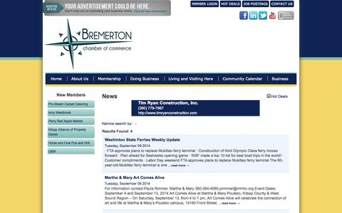 Screenshot of Press Page bremertonchamber.org - News - Bremerton Chamber of Commerce - captured Oct. 5, 2014
