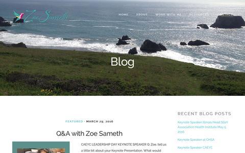 Screenshot of Blog zoesameth.com - Blog - Zoe Sameth - captured Dec. 20, 2016