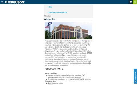 Screenshot of About Page ferguson.com - About Ferguson Enterprises - captured Jan. 17, 2019