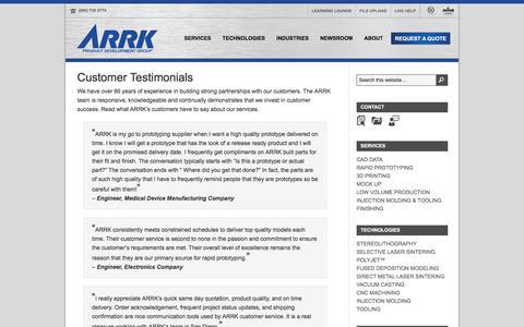 Screenshot of Developers Page arrk.com - Customer Testimonials: ARRK Product Development Group USA, INC. - captured Nov. 13, 2016
